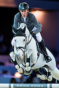 HONG KONG - FEBRUARY 19:  Ludger Beerbaum of Germany rides Colestus during The Hong Kong Jockey Club Trophy as part of the 2016 Longines Masters of Hong Kong on February 19, 2016 in Hong Kong, Hong Kong.  (Photo by Aitor Alcalde Colomer/Getty Images)