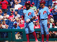 June 14, 2018 - Philadelphia, PA, U.S. - PHILADELPHIA, PA - JUNE 14: Philadelphia Phillies Center field Odubel Herrera (37) is safe at first base during the MLB baseball game between the Philadelphia Phillies and the Colorado Rockies on June 14, 2018 at Citizens Bank Park in Philadelphia, PA. The Phillies won 9-3. (Photo by Andy Lewis/Icon Sportswire) (Credit Image: © Andy Lewis/Icon SMI via ZUMA Press)