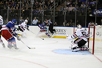 Ishockey<br /> NHL<br /> Foto: imago/Digitalsport<br /> NORWAY ONLY<br /> <br /> October 3, 2014: New York Rangers left wing Mats Zuccarello (36) centers the puck in Chicago s zone during a preseason NHL Eishockey Herren USA game between the Chicago Blackhawks and the New York Rangers at Madison Square Garden in New York, NY.