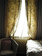 Curtains, Bed And Chair With Sunlight