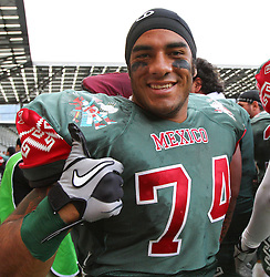 10.07.2011, Tivoli Stadion, Innsbruck, AUT, American Football WM 2011, Group A, Mexico (MEX) vs Australia (AUS), im Bild Camacho Edgar eumir (Mexico, #74, LB) after the win // during the American Football World Championship 2011 Group A game, Mexico vs Australia, at Tivoli Stadion, Innsbruck, 2011-07-10, EXPA Pictures © 2011, PhotoCredit: EXPA/ T. Haumer