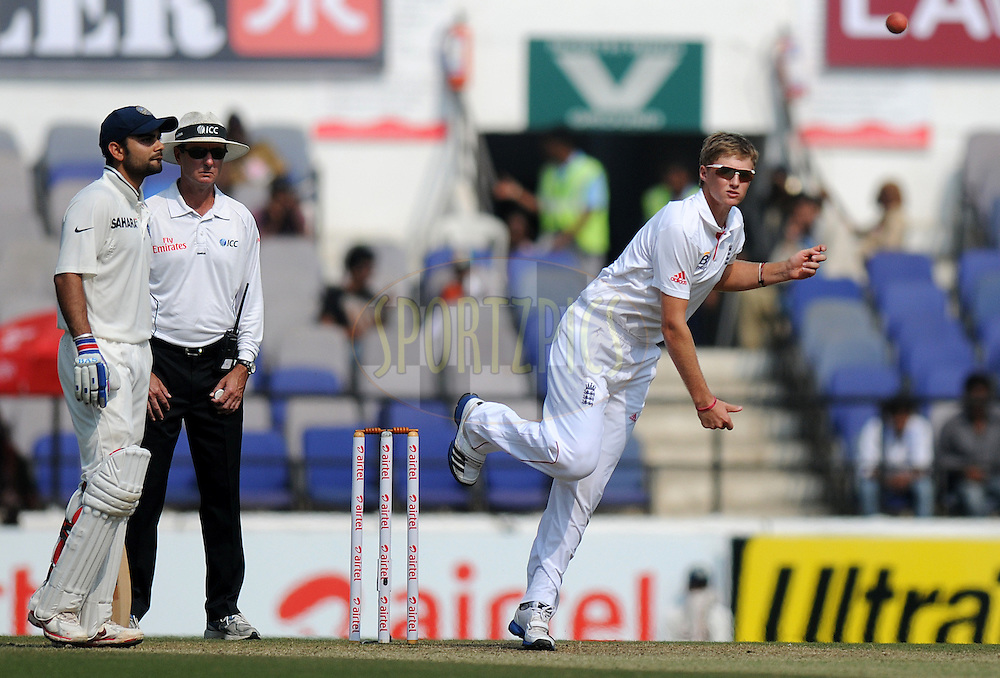 Joe Root of England bowls during day three of the 4th Airtel Test Match between India and England held at VCA ground in Nagpur on the 15th December 2012..Photo by  Pal Pillai/BCCI/SPORTZPICS .