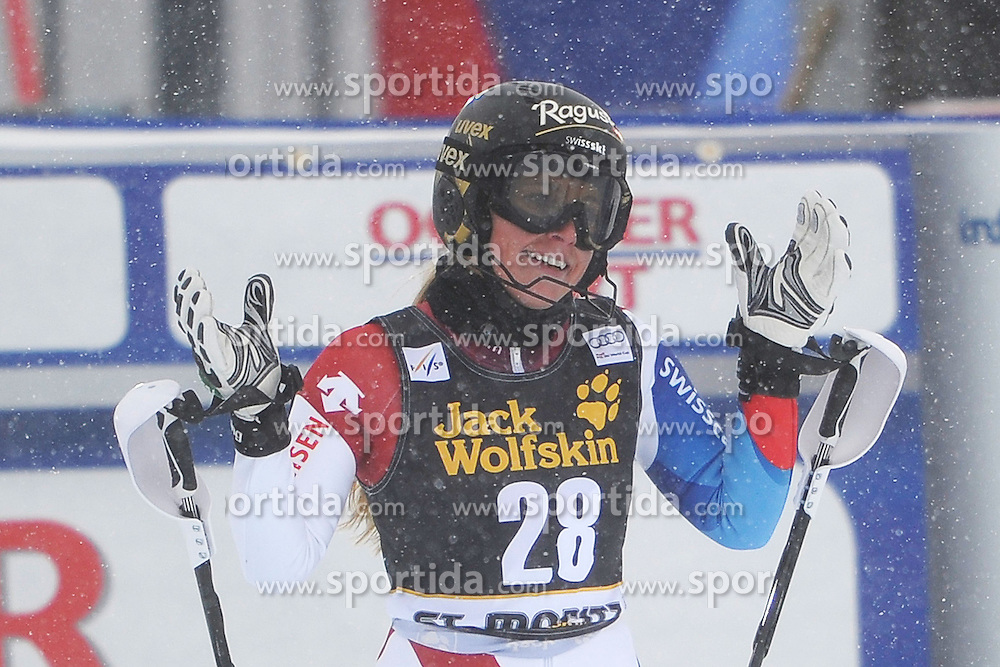 07.12.2012, Engiadina Rennstrecke, St. Moritz, SUI, FIS Ski Alpin Weltcup, Super Combination, Damen, Slalom, im Bild Lara Gut (SUI) im Ziel // reacts after Slalom of ladies Super Combined of FIS ski alpine world cup at the Engiadina course, St. Moritz, Switzerland on 2012/12/07. EXPA Pictures © 2012, PhotoCredit: EXPA/ Freshfocus/ Andreas Meier..***** ATTENTION - for AUT, SLO, CRO, SRB, BIH only *****
