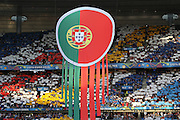 Portugal banner and flag at opening ceremony during the Euro 2016 final between Portugal and France at Stade de France, Saint-Denis, Paris, France on 10 July 2016. Photo by Phil Duncan.