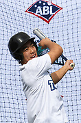 Yuuki Takahashi hits in the batting cage as the new Auckland Tuatara baseball team is announced to play in the Australian Baseball League at the Centre for Conservaion Medicine at Auckland Zoo. 27 August 2018. Copyright Image: Andrew Cornaga / www.photosport.nz