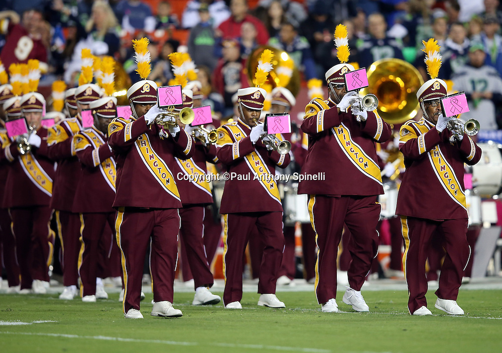 The Washington Redskins band plays at halftime during the Washington Redskins NFL week 5 regular season football game against the Seattle Seahawks on Monday, Oct. 6, 2014 in Landover, Md. The Seahawks won the game 27-17. ©Paul Anthony Spinelli