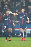 Kylian Mbappe (PSG) scored a goal and celebrated it with Edinson Roberto Paulo Cavani Gomez (psg) (El Matador) (El Botija) (Florestan) during the French Championship Ligue 1 football match between Paris Saint-Germain and SM Caen on December 20, 2017 at Parc des Princes stadium in Paris, France - Photo Stephane Allaman / ProSportsImages / DPPI