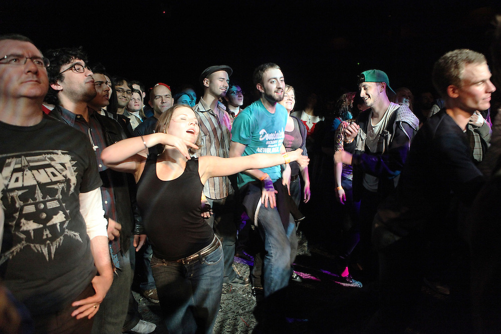 NEW YORK - FEBRUARY 27:  Fans dance at the performance of ...And you Will Know Us By The Trail Of Dead at the Music Hall of Williamsburg on February 27, 2009 in New York City.  (Photo by Roger Kisby/Getty Images)