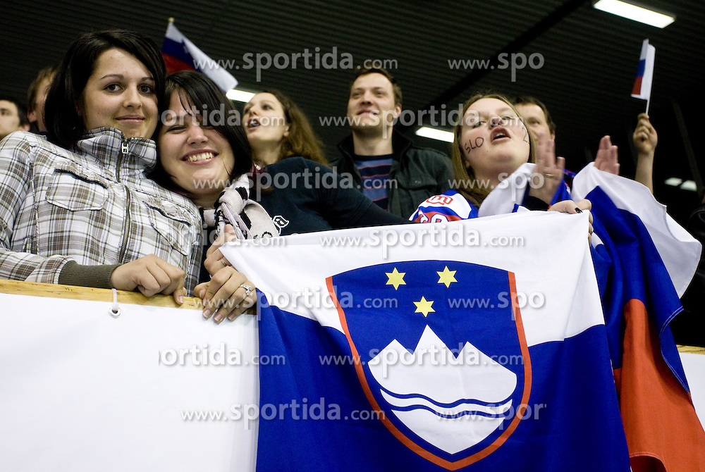 Fans of Slovenia at IIHF Ice-hockey World Championships Division I Group B match between National teams of Slovenia and Croatia, on April 18, 2010, in Tivoli hall, Ljubljana, Slovenia.  (Photo by Vid Ponikvar / Sportida)