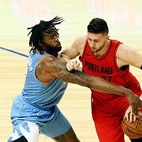 18 March 2018: LA Clippers center DeAndre Jordan (6) defends on Portland Trail Blazers center Jusuf Nurkic (27) during the Portland Trail Blazers 122-109 victory over the LA Clippers, at the Staples Center, Los Angeles, California, USA.