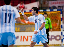 14.01.2011, Scandinavium, Göteborg, SWE, IHF Handball Weltmeisterschaft 2011, Herren, Argentinien vs Korea, im Bild, //  Argentina 15 Gonzalo Carou celebrates after scoring in the second half last minute // during the IHF 2011 World Men's Handball Championship match Argentinia vs Korea at Scandinavium in Gothenburg. EXPA Pictures © 2011, PhotoCredit: EXPA/ Skycam/ Per Friske ++++++ ATTENTION - OUT OF SWEDEN/SWE +++++