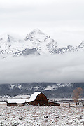 Moulton Barn in Grand Teton National Park Wyoming with fresh snow.