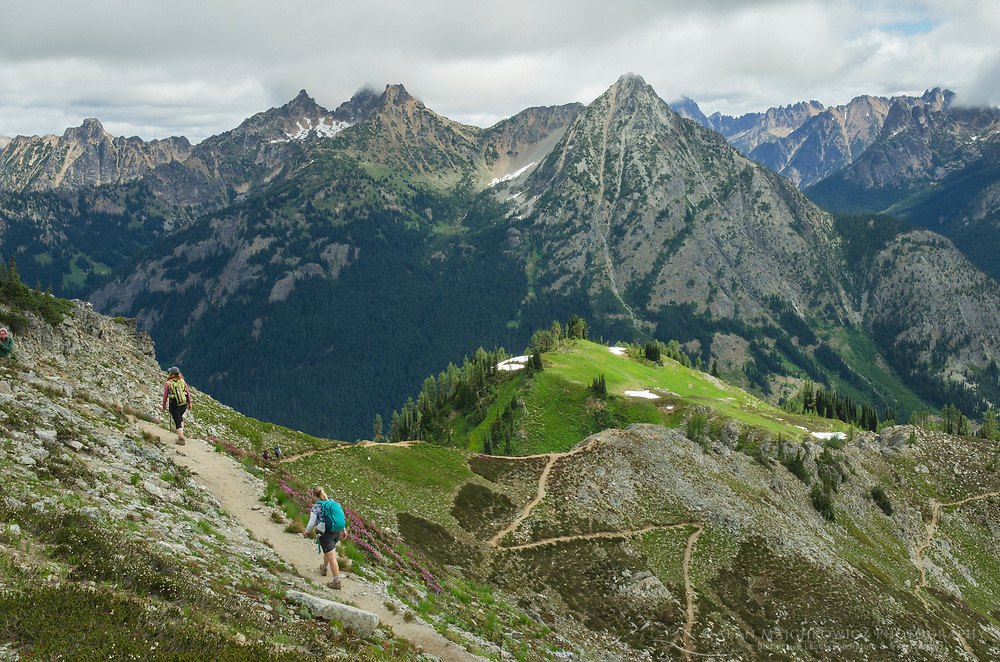 Hikers on Maple Pass Trail, North Cascades Washington