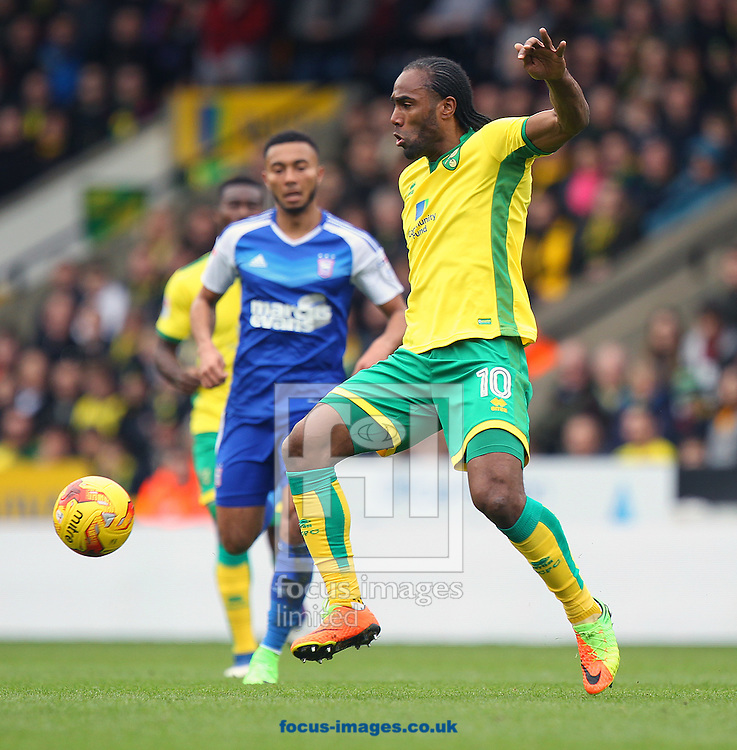 Cameron Jerome of Norwich in action during the Sky Bet Championship match at Carrow Road, Norwich<br /> Picture by Paul Chesterton/Focus Images Ltd +44 7904 640267<br /> 26/02/2017