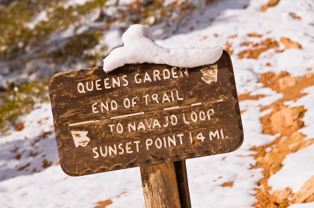 Trail sign and fresh powder along the Queens Garden Trail, Bryce Canyon National Park, Utah