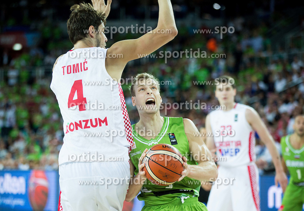Ante Tomic of Croatia vs Jaka Blazic of Slovenia during basketball match between Croatia and Slovenia at Day 1 in Group C of FIBA Europe Eurobasket 2015, on September 5, 2015, in Arena Zagreb, Croatia. Photo by Vid Ponikvar / Sportida