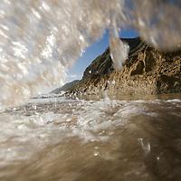 Oahu, Makua Beach wave on beach
