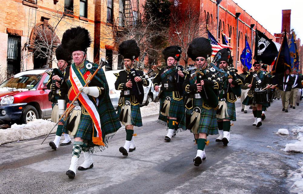Marching band at the local Saint Patrick's Day parade.