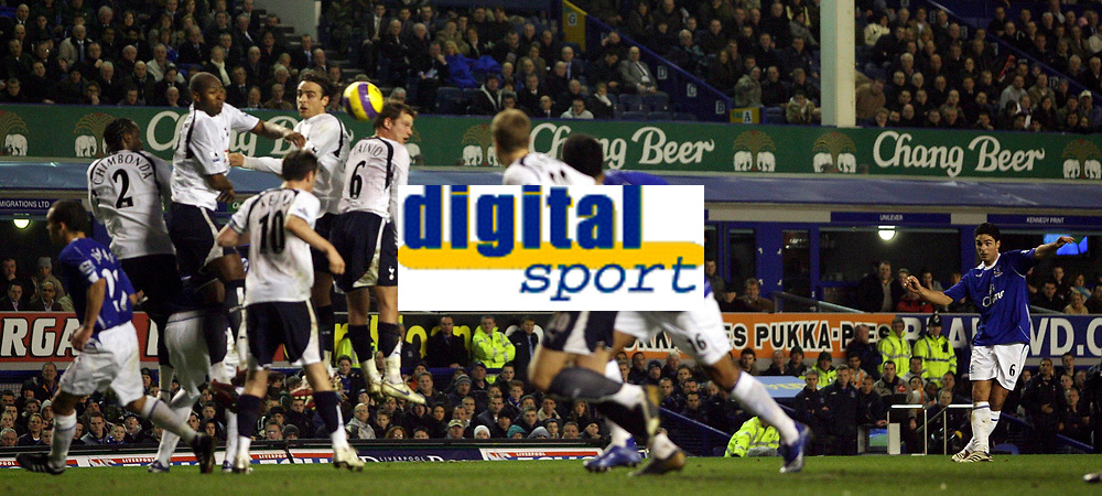 Photo: Paul Thomas.<br /> Everton v Tottenham Hotspur. The Barclays Premiership. 21/02/2007.<br /> <br /> Mikael Arteta (Right number Blue 6) scores for Everton.