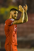 Tom Dallison (Crawley Town) thanking the supporters following the EFL Cup match between Crawley Town and Norwich City at The People's Pension Stadium, Crawley, England on 27 August 2019.