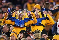 Oct 25, 2018; Morgantown, WV, USA; West Virginia Mountaineers fans cheer during the third quarter against the Baylor Bears at Mountaineer Field at Milan Puskar Stadium. Mandatory Credit: Ben Queen-USA TODAY Sports