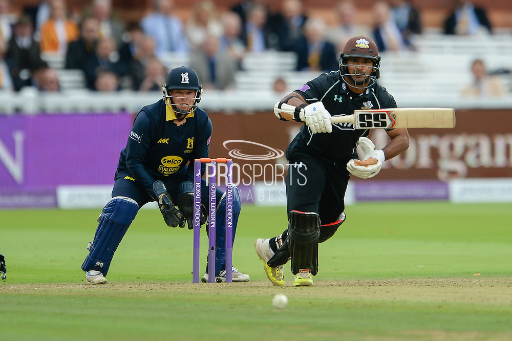 Kumar Sangakkara of Surrey batting during the Royal London One Day Cup match between Warwickshire County Cricket Club and Surrey County Cricket Club at Lord's Cricket Ground, St John's Wood, United Kingdom on 17 September 2016. Photo by David Vokes.
