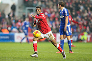 Bristol City's Kieran Agard shoots at goal during the Sky Bet Championship match between Bristol City and Ipswich Town at Ashton Gate, Bristol, England on 13 February 2016. Photo by Shane Healey.