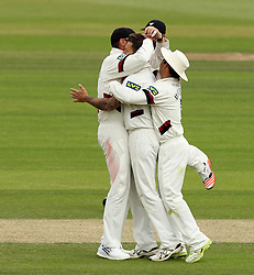 Somerset's Peter Trego celebrates taking the wicket of Hampshire's Michael Carberry with Somerset's Johann Myburgh and Somerset's Marcus Trescothick - Photo mandatory by-line: Robbie Stephenson/JMP - Mobile: 07966 386802 - 23/06/2015 - SPORT - Cricket - Southampton - The Ageas Bowl - Hampshire v Somerset - County Championship Division One