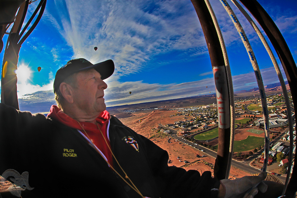 Roger Hoppe of Albuquerque, New Mexico, pilots his balloon during the 2011 Balloon Regatta in Page, Arizona.