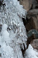 Icicles on a cliff face, Northeast Harbor, Maine