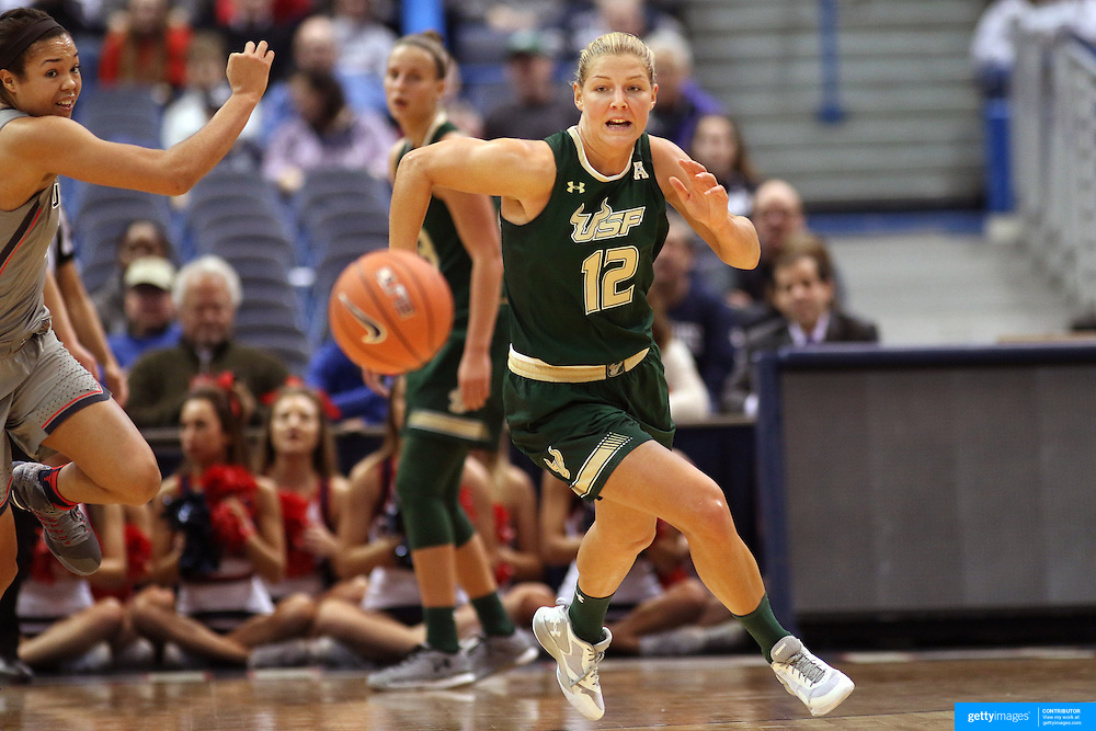 HARTFORD, CONNECTICUT- JANUARY 10: Maria Jespersen #12 of the South Florida Bulls in action during the the UConn Huskies Vs USF Bulls, NCAA Women's Basketball game on January 10th, 2017 at the XL Center, Hartford, Connecticut. (Photo by Tim Clayton/Corbis via Getty Images)