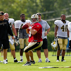 01 August 2009: New Orleans Saints quarterback Drew Brees (9) looks to pass during New Orleans Saints training camp at the team's practice facility in Metairie, Louisiana.