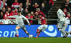 Niclas Eliasson of Bristol City takes on Marcos Rojo of Manchester United - Mandatory by-line: Robbie Stephenson/JMP - 20/12/2017 - FOOTBALL - Ashton Gate Stadium - Bristol, England - Bristol City v Manchester United - Carabao Cup Quarter Final