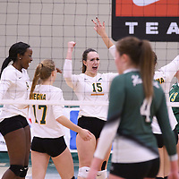 5th year outside hitter Jenna Krahn (15) of the Regina Cougars celebrates during Women's Volleyball home game on November 18 at Centre for Kinesiology, Health and Sport. Credit: /Arthur Images
