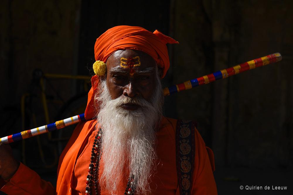 Portret van een Hindoestaanse man in Jaipur. Rajasthan provincie, India