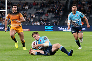 SYDNEY, AUSTRALIA - MAY 25: Waratahs player Alex Newsome (14) takes the ball at week 15 of Super Rugby between NSW Waratahs and Jaguares on May 25, 2019 at Western Sydney Stadium in NSW, Australia. (Photo by Speed Media/Icon Sportswire)