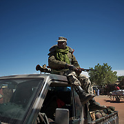 January 21, 2013 - Diabaly, Mali: A Mali army men take guard in Diabaly city centre, a day after the government troops regain control of the city. Diabaly was under islamist militants control since the 14th of January.<br />