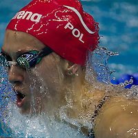 Anna Sztandera Dominika of Poland competes in Swimming Women's 100M Breaststroke semifinal 1 at Nanjing OSC Natatorium during the Nanjing  Youth  Olympic Games 2014 in Nanjing, China, 19 August 2014. The Nanjing Youth Olympic Games 2014 runs from from 16 to 28  August  2014.