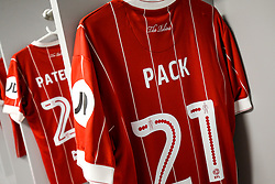 Shirt of Marlon Pack of Bristol City hangs in the Bristol City away dressing room - Rogan/JMP - 09/01/2018 - Etihad Stadium - Manchester, England - Manchester City v Bristol City - Carabao Cup Semi Final First Leg.