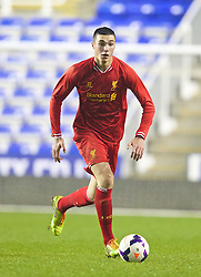 READING, ENGLAND - Wednesday, March 12, 2014: Liverpool's Lloyd Jones in action against Reading during the FA Youth Cup Quarter-Final match at the Madejski Stadium. (Pic by David Rawcliffe/Propaganda)