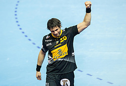 Antonio Jesus Garcia of Spain celebrates after winning during handball match between National teams of Spain and Sweden on Day 6 in Preliminary Round of Men's EHF EURO 2016, on January 20, 2016 in Centennial Hall, Wroclaw, Poland. Photo by Vid Ponikvar / Sportida