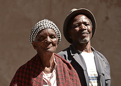 Nov. 21, 2014 - Mthatha, Eastern Cape, South Africa - A portrait of the 77 year-old Beauty Sodo (Left) and  the 73 year-old Tatongo Gamo, from Mandela's homeland of Mthatha. Mthatha, Eastern Cape, South Africa. (Picture by: Artur Widak/NurPhoto) (Credit Image: © Artur Widak/NurPhoto/ZUMA Wire)