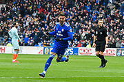 Goal - Victor Camarasa (21) of Cardiff City celebrates scores a goal to give a 1-0 lead to the home team during the Premier League match between Cardiff City and Chelsea at the Cardiff City Stadium, Cardiff, Wales on 31 March 2019.