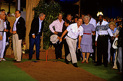 United States President George H.W. Bush plays Horseshoes with Prime Minister Toshiki Kaifu of Japan, Prime Minister Brian Mulroney of Canada and Denis Thatcher, husband of Prime Minister Margaret Thatcher of Great Britain prior to the Economic Summit in Houston, Texas on Sunday, July 8, 1990. First lady Barbara Bush looks on.Credit: Ron Sachs / CNP /ABACAPRESS.COM