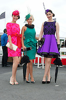 Edel Flemming, Sonia Reinhart both from Gorey and Emma Boyd Wicklow at  the Anthony Ryan's Best Dressed ladies day at the Galway . Photo:Andrew Downes.Photo issued with Compliments, No reproduction fee on first use