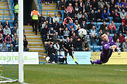 Gillingham goalkeeper Stuart Nelson sees a Coventry City effort go wide during the Sky Bet League 1 match between Gillingham and Coventry City at the MEMS Priestfield Stadium, Gillingham, England on 2 April 2016. Photo by Martin Cole.