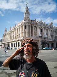 Old Havana, Cuba. Havana vieja, street. Gran Teatro de La Habana. Old man looks like Che Guevara