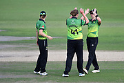 Anya Shrubsole, Heather Knight and Freya Davies of Western Storm celebrate the wicket of Fi Morris during the Kia Women's Cricket Super League Final match between Western Storm and Southern Vipers at the 1st Central County Ground, Hove, United Kingdom on 1 September 2019.