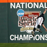 Oregon State center fielder Max Gordon makes a leaping catch in for the final out of the bottom of the fifth inning during the Beavers'  6-1 victory over Texas A&M to win the NCAA Corvallis Regional, at Goss Stadium,  in Corvallis, Ore., on Sunday, June 2, 2013.
