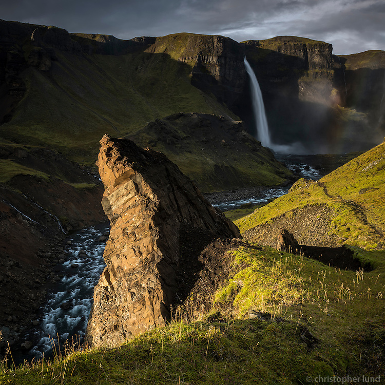Háifoss waterfall in Iceland. The river Fossá, a tributary of Þjórsá, drops here from a height of 122 m. This is the second highest waterfall of Iceland.